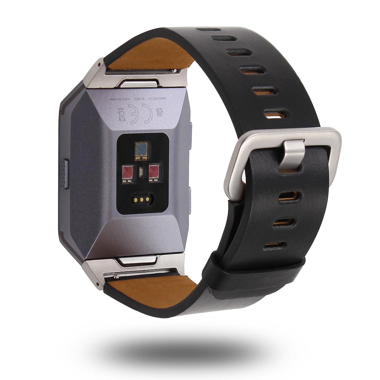 Xihamaレザー時計ストラップfor Fitbit IonicストラップFitbit Ionicスポーツバンド、バンド、リストバンド、スマート腕時計ストラップ、ストラップ、スポーツブレスレットfor Fitbit Ionic Fitness Smart Watch ブラック  ブラック B07B95JGQ4