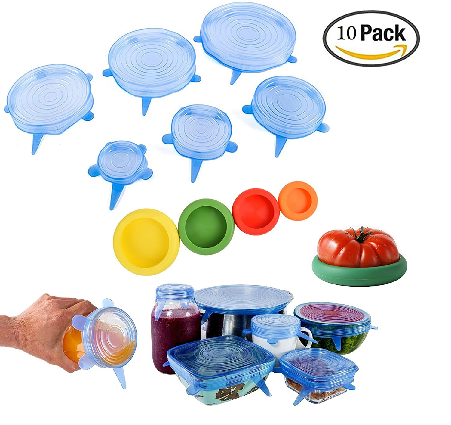 10 PCS Silicone Stretch Lids,Fashionbabies 2 Kinds of Silicone Food Covers for Cups,Vegetables,Fruits,Cans,Bowls