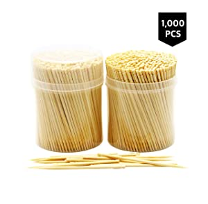 NatureCore Bamboo Wooden Toothpicks - 1000 Pieces, Sturdy Safe Round Clear Non-Fragile Storage, 2 Packs of 500 Pcs, Party Catering Appetizer Fruit Cocktail Dessert Barbecue Art Craft Teeth Cleaning