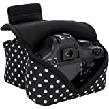 DSLR Camera Case / SLR Camera Sleeve (Polka Dot) with Neoprene Protection, Holster Belt Loop and Accessory Storage by USA Gear - Works With Canon , Nikon , Sony , Olympus , Pentax and Many More
