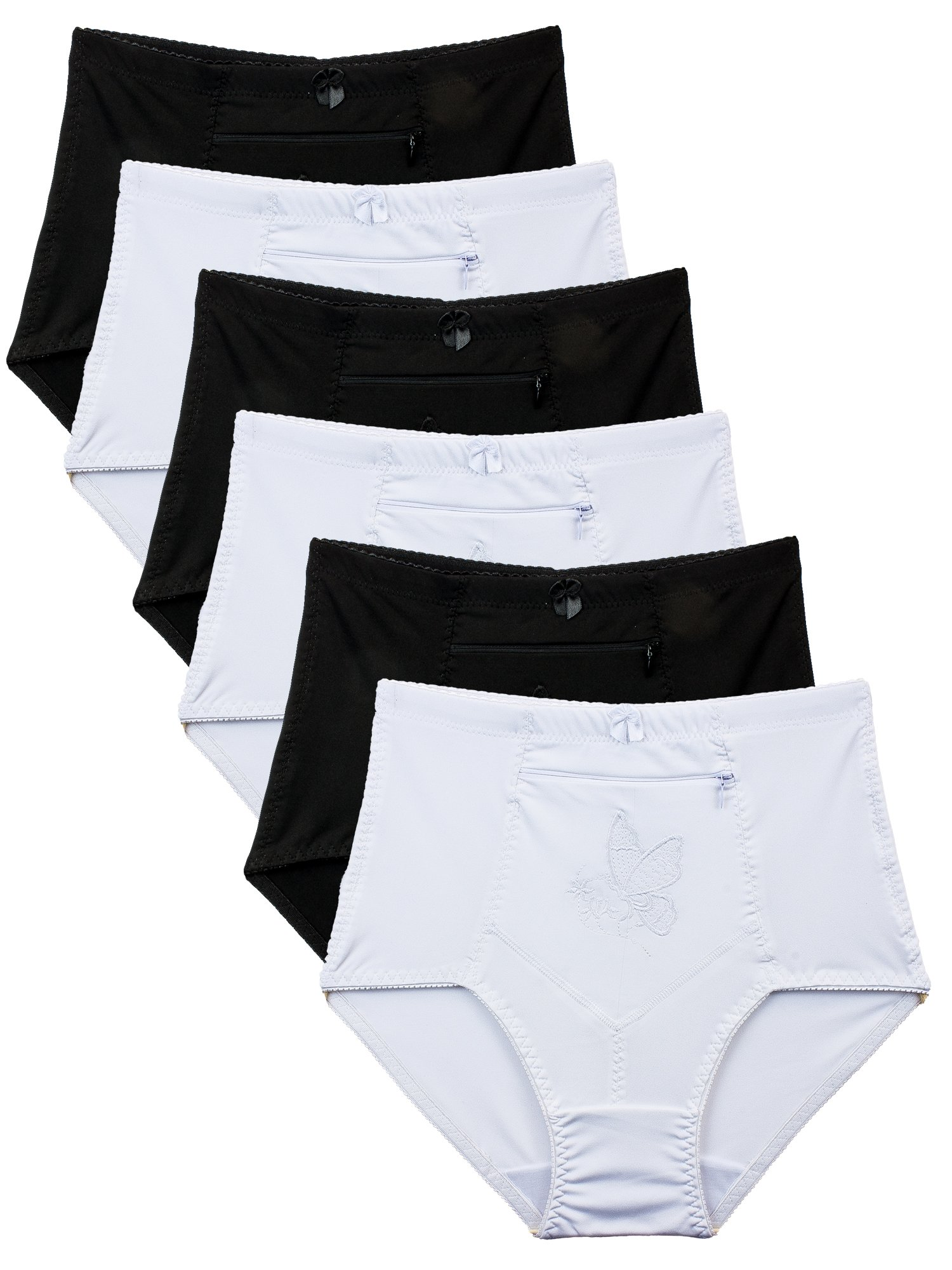 Barbra's 6 Pack Women's Travel Pocket Girdle Brief Panties S-4XL (2XL)