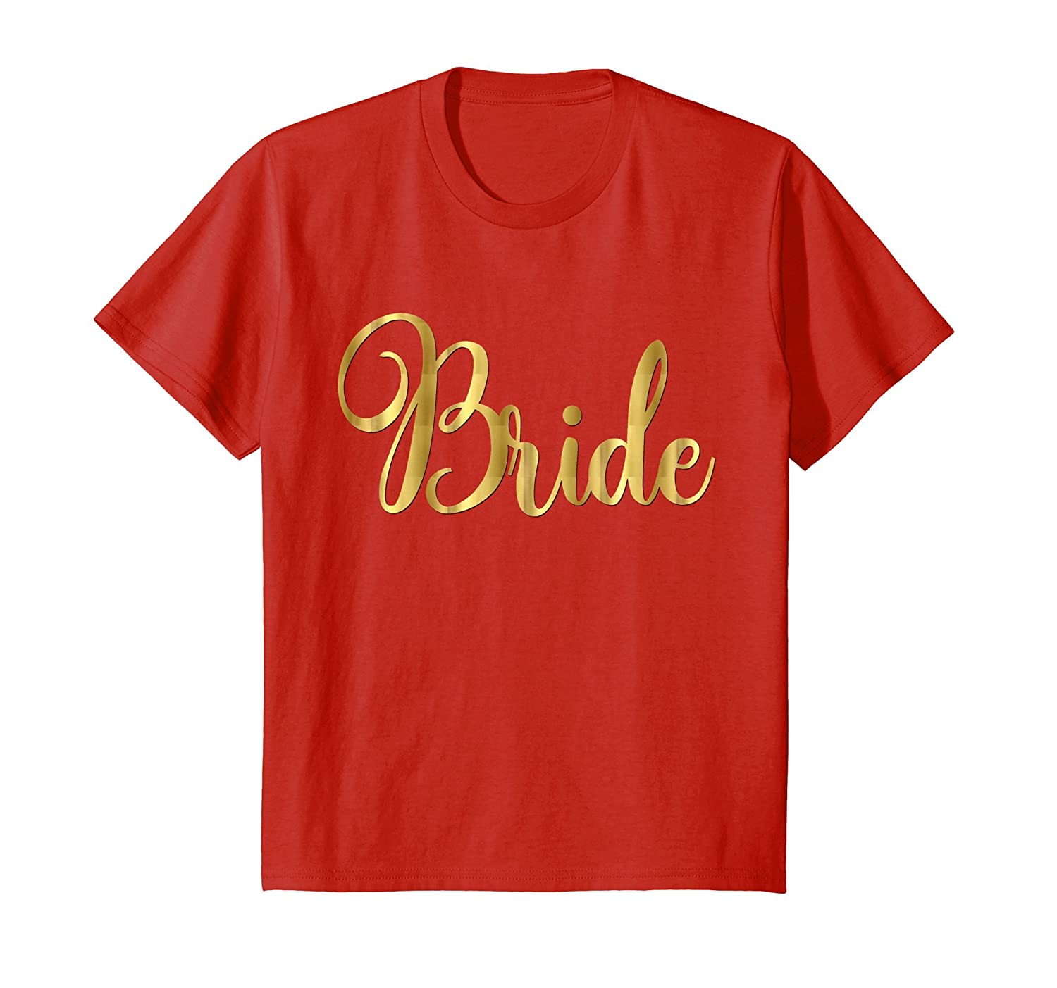 Bride Shirt Wedding Party Groom Fancy Gold Script
