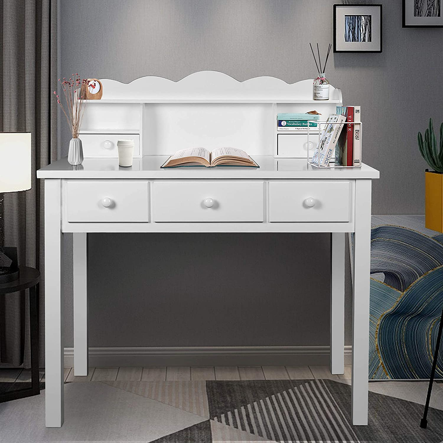 Home Office Furniture Writing Desk Computer Work Station With Detachable Hutch 5 Drawers