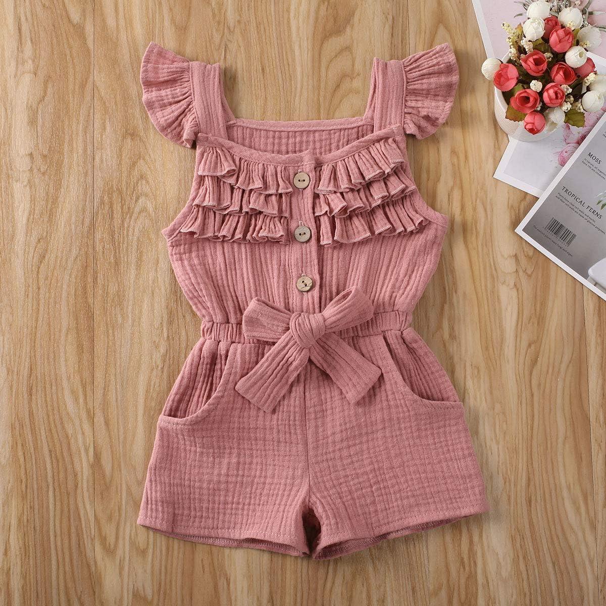 Toddler Little Girl Demin Off Shoulder Ruffle Pocket Romper Jumpsuit Clothes Set