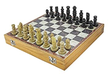 Chessncrafts Marble Soapstone Chess Board Game (Multicolour, 12-inch)