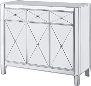 Southern Enterprises Mirage Cabinet, Mirrored with matte silver trim