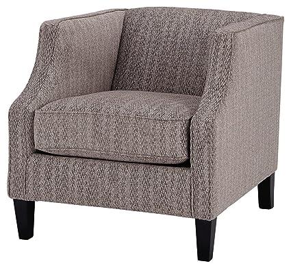 Ashley Furniture Signature Design - Alsatin Accent Chair - Casual - Warm Brown Herringbone Design - Dark Brown Legs