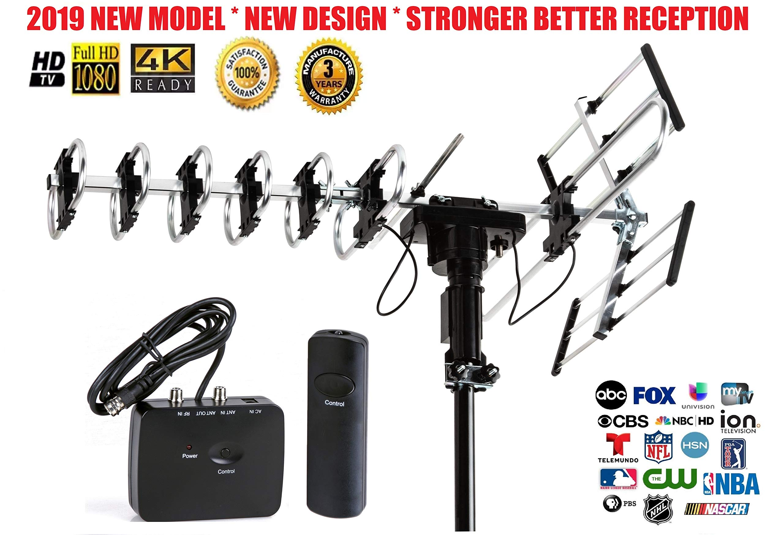 FiveStar Outdoor HD TV Antenna 2019 Newest Model Up to 200 Miles Long Range with Motorized 360 Degree Rotation, UHF/VHF/FM Radio with Infrared Remote Control Advanced Design by Five Star