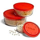 Bormioli Rocco Gelo Glass Storage Bowls with Red Lids, Set of 3