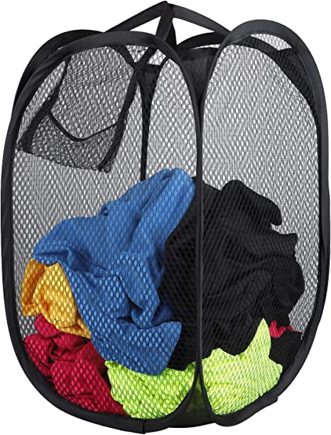 Strong Mesh Popup Laundry Hamper Basket Easy to Open and Fold Flat for Storage