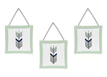 Navy and Mint Woodland Arrow Print Girl or Boy Wall Hanging Accessories Sweet Jojo Designs Grey