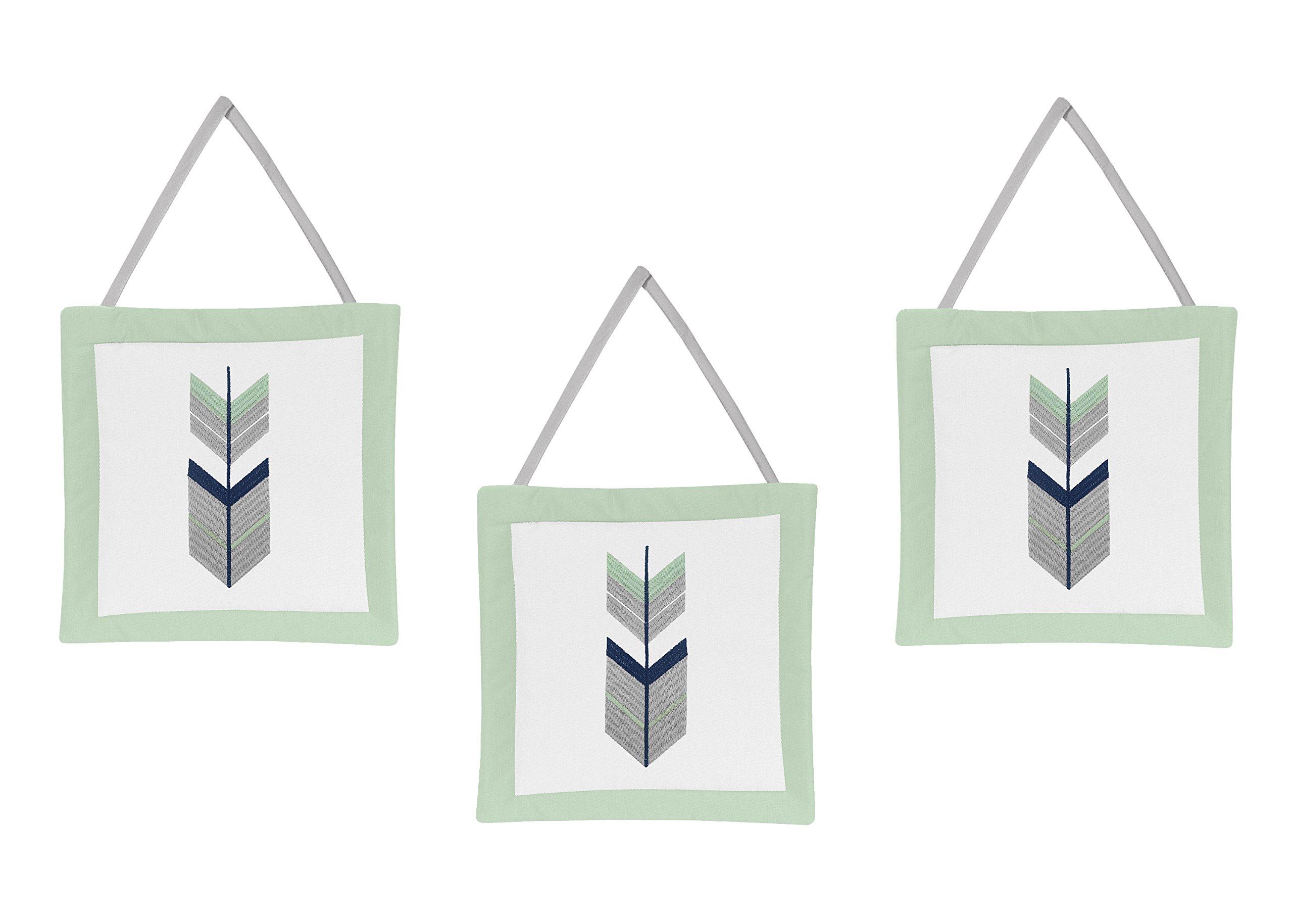 Sweet Jojo Designs Grey, Navy and Mint Woodland Arrow Print Girl or Boy Wall Hanging Accessories