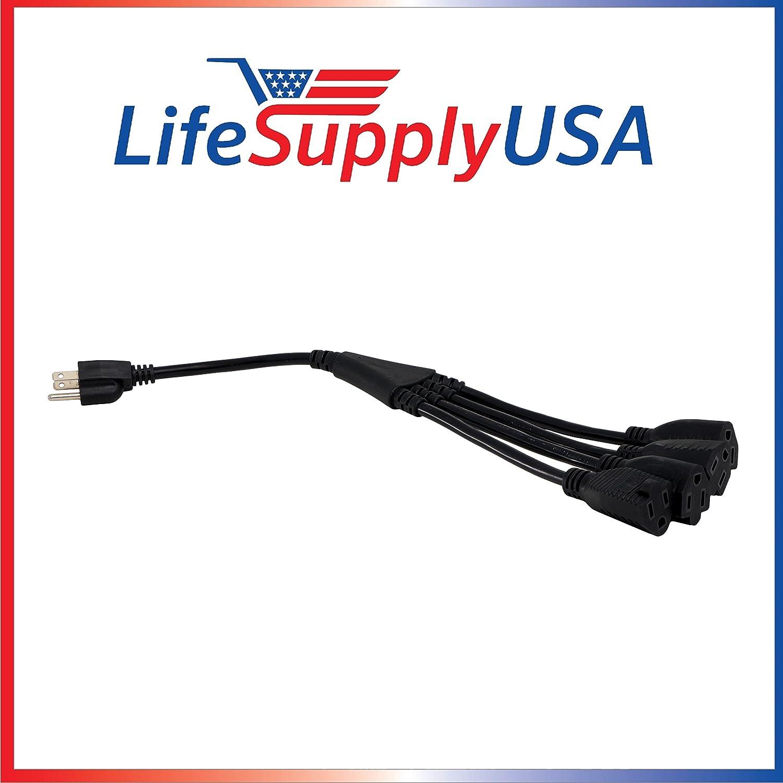 "2PK 1 to 4 Splitter Extension Cord SJT 18/"" 15AMP 4 X US standard 15AMP NEMA 5-15"