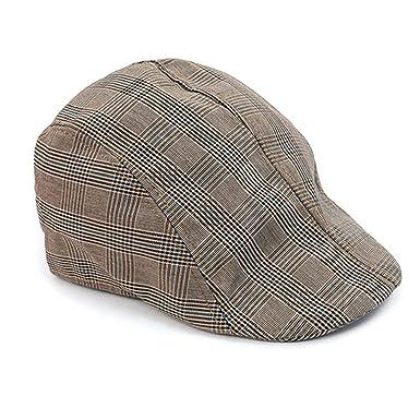 Amazon.com  WESTEND Men s Spring Summer Plaid Ivy Cap  Clothing 50a98f75f4a