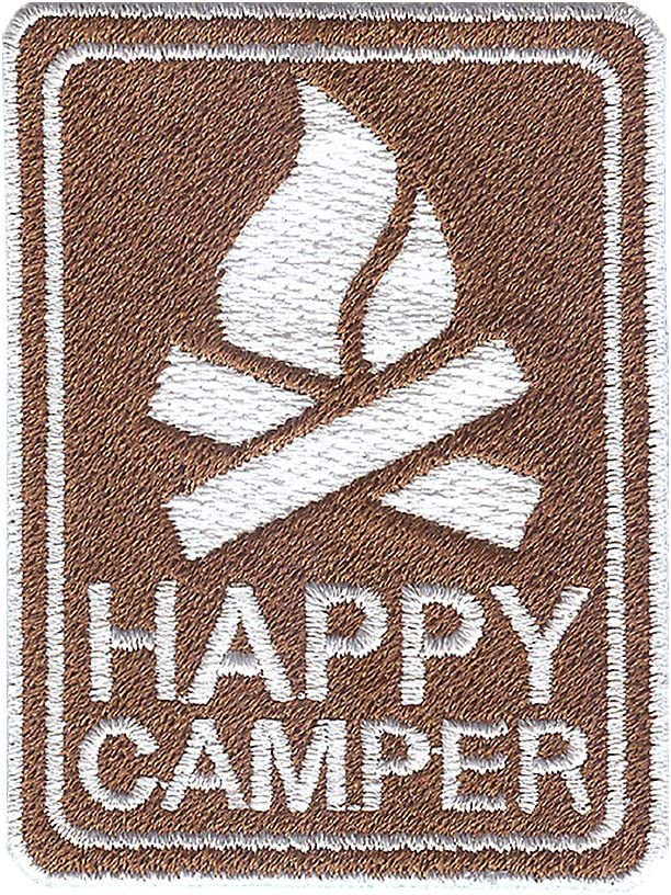 Clear Tervis 1235478 Happy Camper Tumbler with Emblem and Brown Lid 16oz Mug