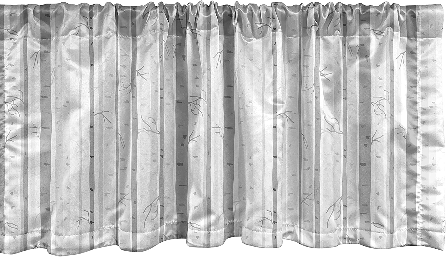 Ambesonne Grey and White Window Valance, Birch Tree Grove Leafless Branches Winter Woodland Illustration, Curtain Valance for Kitchen Bedroom Decor with Rod Pocket, 54