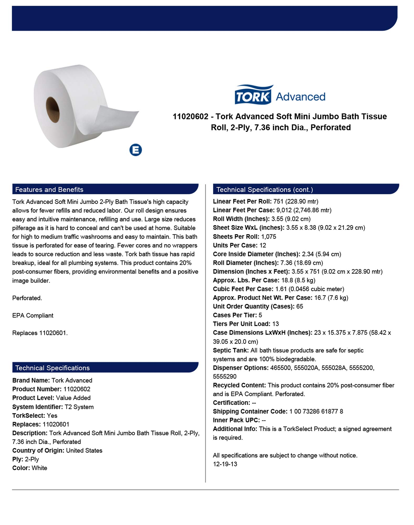 Tork Advanced 11020602 Soft Mini Jumbo Bath Tissue Roll, Perforated, 2-Ply, 7.36'' Diameter, 3.55'' Width x 8.38'' Length, White (Case of 12 Rolls, 1,075 per Roll, 12,900 Sheets) by Tork (Image #4)