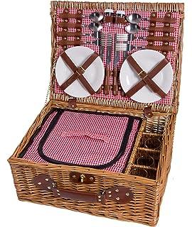 Panier de pique-nique en osier 4 personnes vaisselle pique-nique panier panier en osier panier de pique-nique en osier (rouge)
