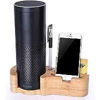 Speaker Stand for Amazon Alexa Echo Gen 1 Echo Plus iPhone[Not for Echo Speaker Gen 2], Rukoy Bamboo Protective Holder for Amazon Alexa Echo Echo Dot Echo Plus iPhones Samsung Galaxy Smartphones