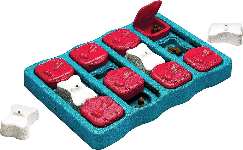 Outward Hound Puzzle Toy Nina Ottosson Dog Brick-Rompecabezas Interactivo para Perros, Color Azul y Rojo, Nivel 2 (Intermedio) (67333M)