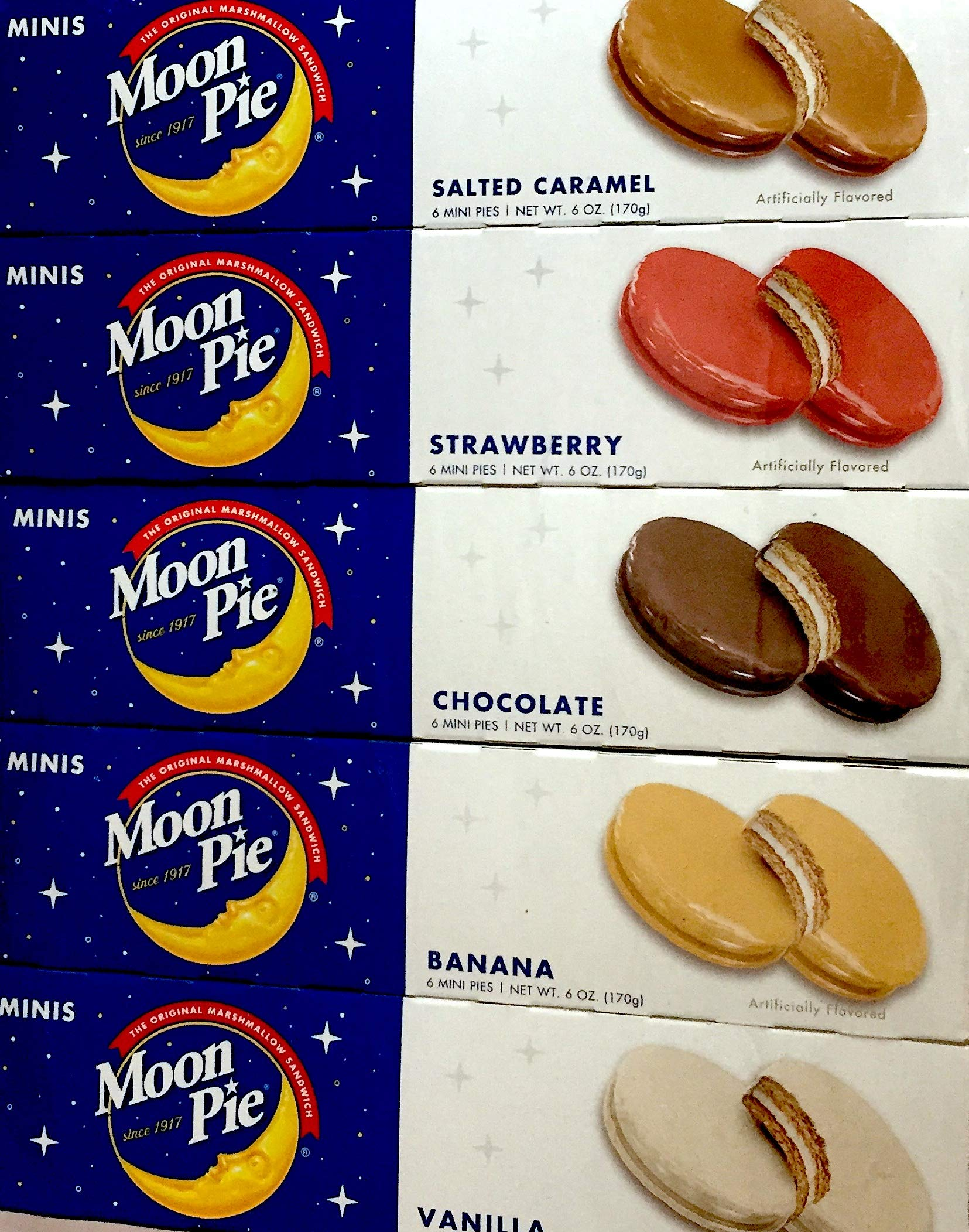 Moon Pie's- Complete Variety Pack - All 5 Flavors! 5 Boxes of Mini's- 1 Salted Caramel - 1 Chocolate - 1 Strawberry - 1 Banana - 1 Vanilla 6 pies per box, 30 pies total! by Online Wholesale Group