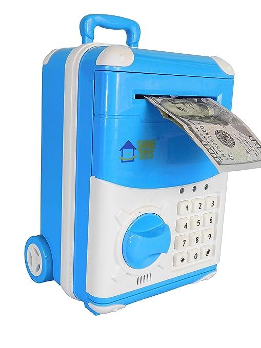 Yellow Shinetoys Kids Electronic Password Auto Scroll Paper Money Box Safe Piggy Bank
