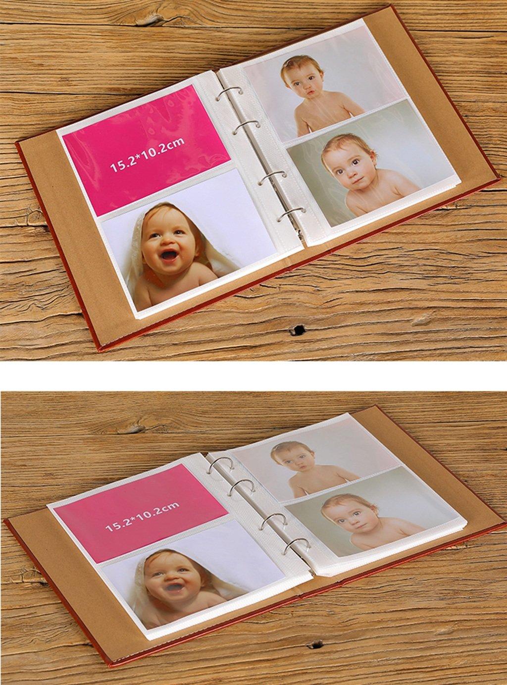 GAO JI FENG del Los Bolsillos 120 del FENG álbum de la Cubierta de la PU Pueden Llevar a Cabo Fotos 4x6, álbum conmemorativo intersticial del Crecimiento del bebé (Tamaño : 25x20.5x5cm) 221995