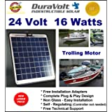Trolling Motor 24V battery charger- 1/2 Amp Trickle Solar Charger - Self Regulating - Boat Marine Solar Panel - No experience Plug & Play Design. Dimensions 14.1 in x 15.7 W x 1/4