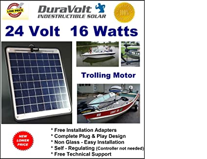 trolling motor 24v battery charger- 1/2 amp trickle solar charger - self  regulating - boat marine solar panel - no experience plug & play design