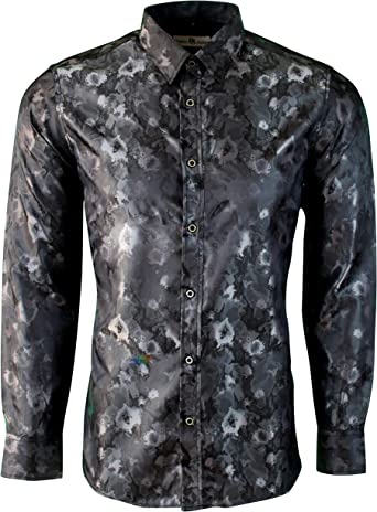 Dominic Stefano Mens Shiny Satin Floral Paisley Print Silk Feel Smart Casual Dress Formal Wedding Casual Shirt: Amazon.es: Ropa y accesorios