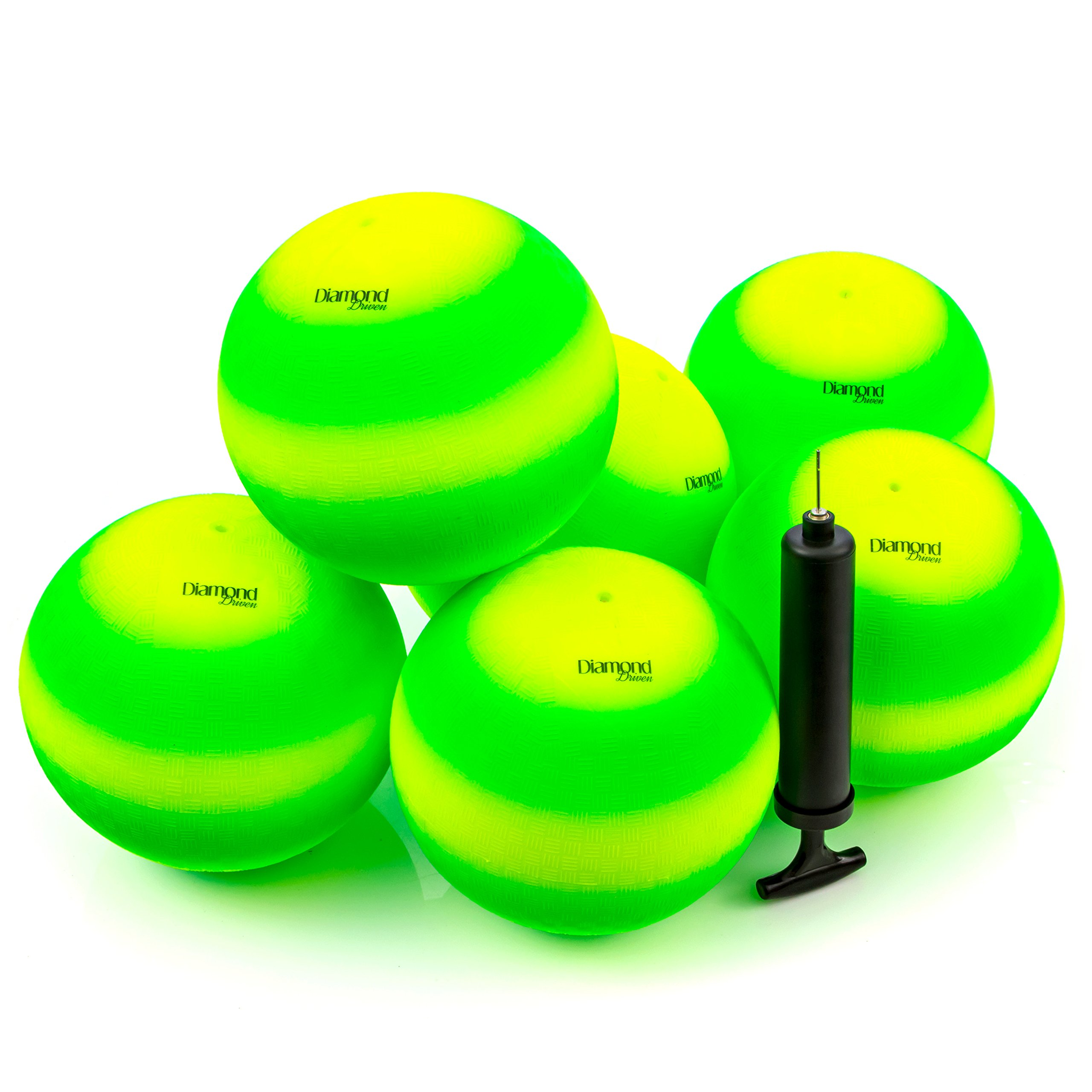 8.5 Inch Playground Balls, Dodge Balls, Kickball's (Set of 6) with 1 Hand Pump, Sports Balls, 250 Grams solid and safe by Diamond Driven