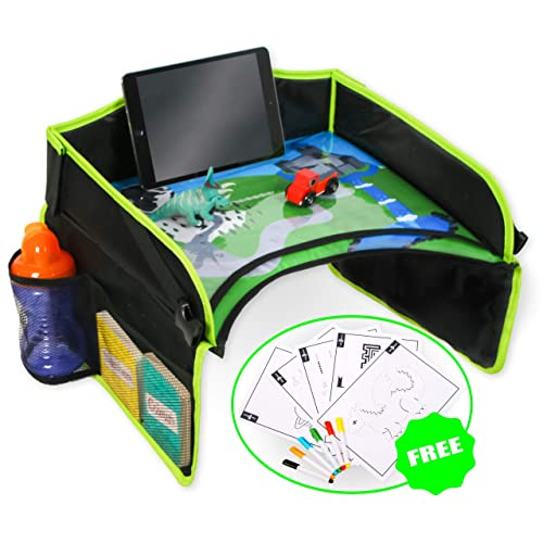 EasyXplorer Kids Travel Activity Tray with Erasable Drawing Surface AND Exclusive Play Scene. Universal Fit. Organise toys and snacks and provide entertainment for car, plane and stroller (Black and Green)