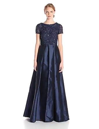 da34e364cb Adrianna Papell Women s Cap Sleeve Illusion Taffeta Gown with Beaded Bodice