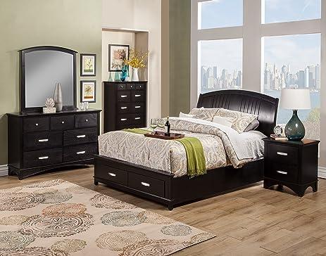 Alpine Furniture 5 Piece Madison Storage Bed Set, California King, Dark  Espresso