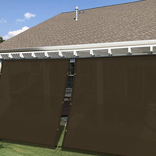 Amazon Com Windscreen4less 11 X24 Sun Shade Screen Panel Shade Walls Sail Cloth For Window Door Deck Patio Yard Pergola Uv Block Breathable 2 Sides Grommets 2 Sides Rods Brown Garden Outdoor