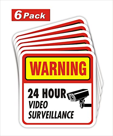 9 Warning 24 Hour Video Surveillance Decal Stickers Security Warning Sign Alert Vinyl Sticker Decals 3x 4 Decals 9