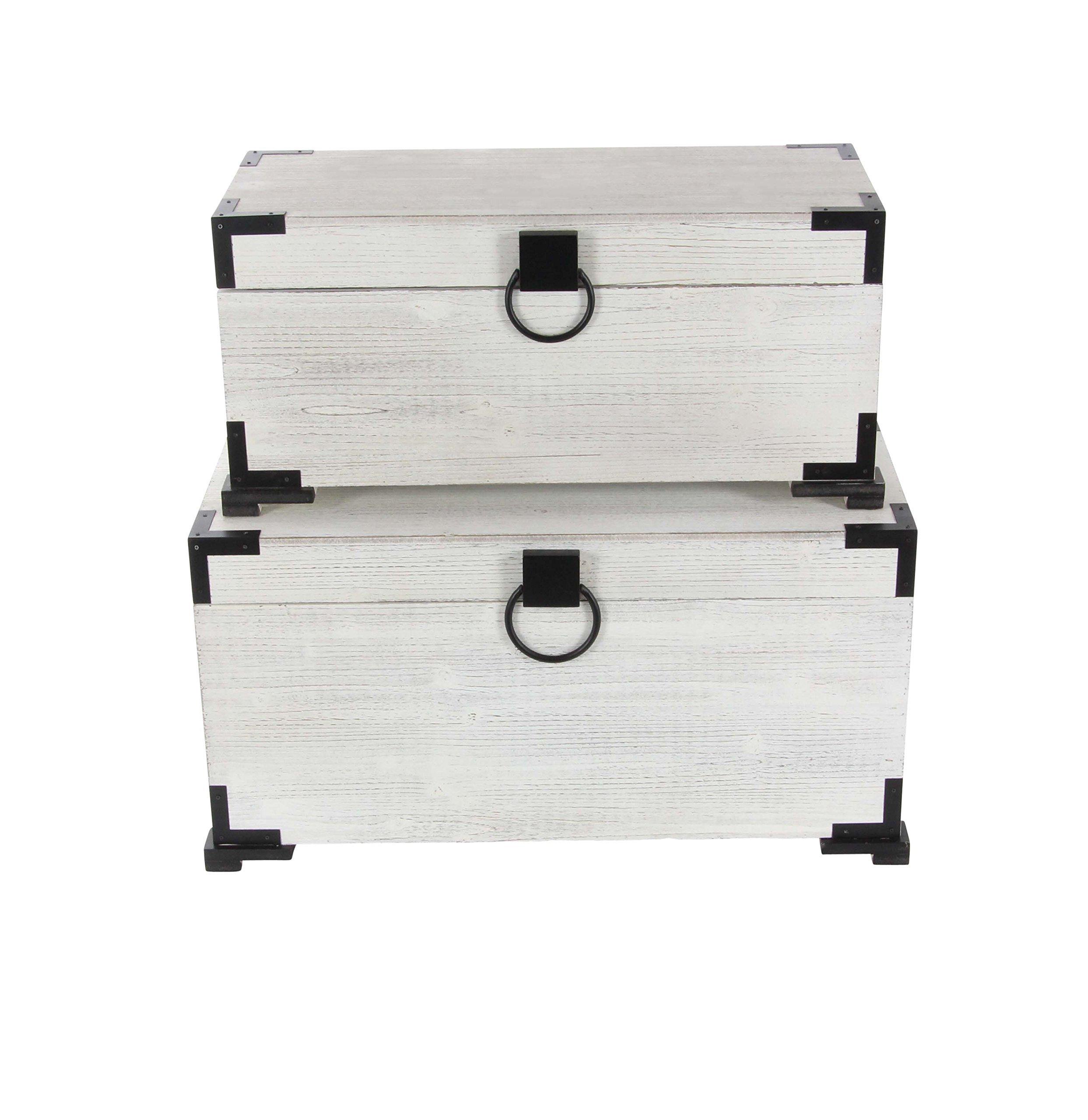 Deco 79 98152 28''/31'' Wood Trunk (Set of 2), White/Black