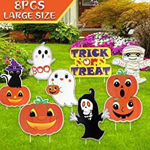 AerWo 8 Pack Halloween Decorations Outdoor Cute Large Corrugate Halloween Yard Stake Signs, Waterproof Halloween Props Trick Or Treat Sign for Garden, Lawn, Yard Decorations Outside