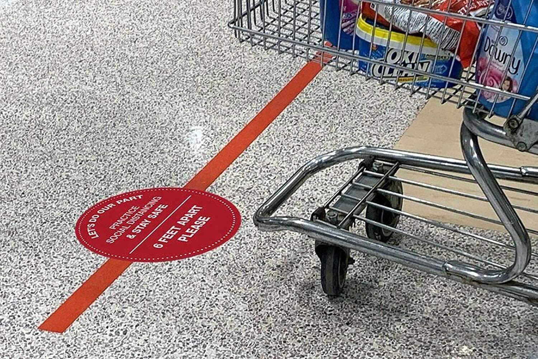 Social Distancing Floor Circle Sticker 10 Pack 12 Diameter Round Commercial Grade Keep 6 Feet Apart Anti Slip Crowd Control Decals