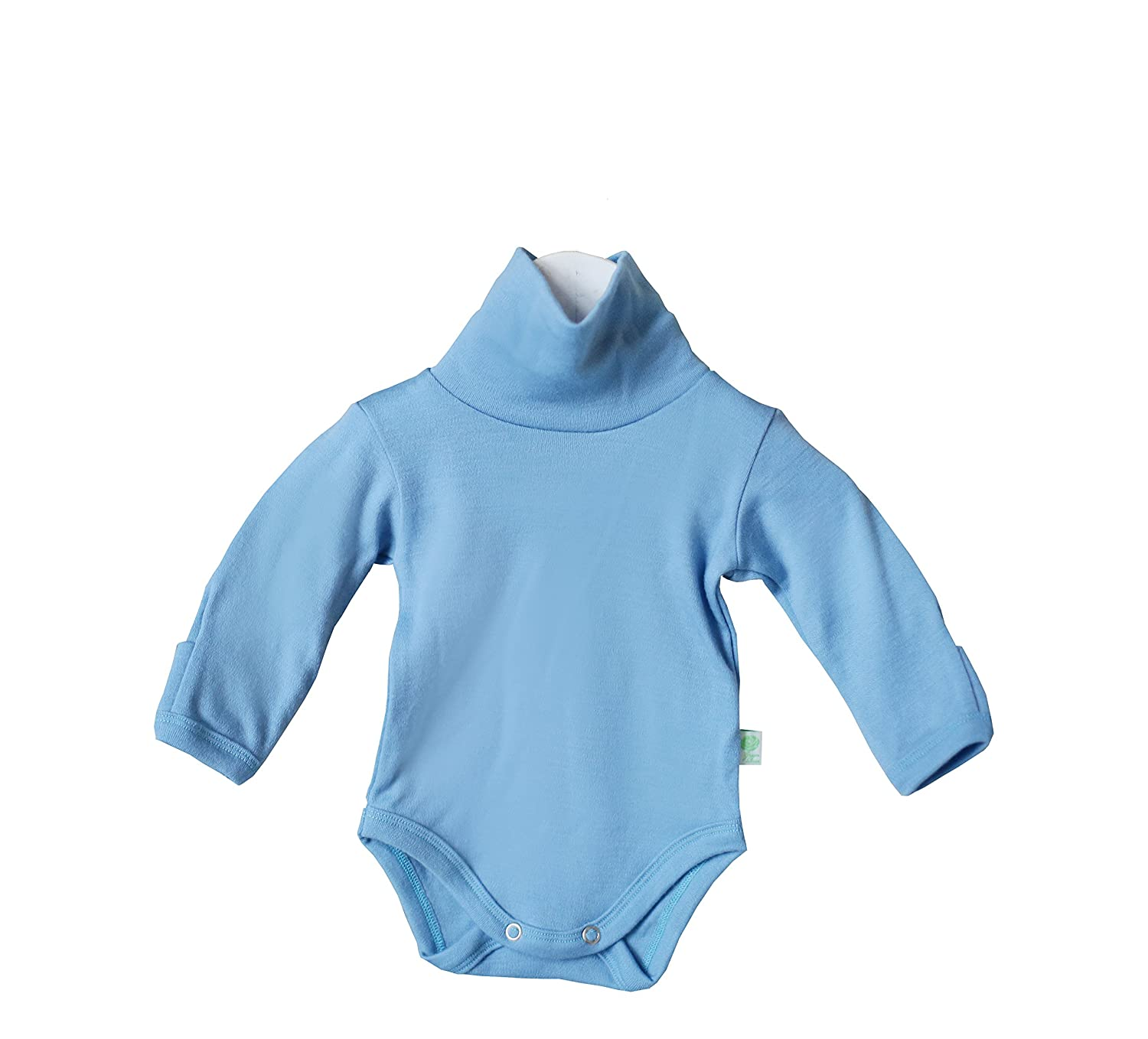 GREEN ROSE Baby Roll Neck Bodysuit Long Sleeves Onesie Turtle Neck one-Piece Clothes for Baby Girl Boy 0-24 Months 100% Merino Wool