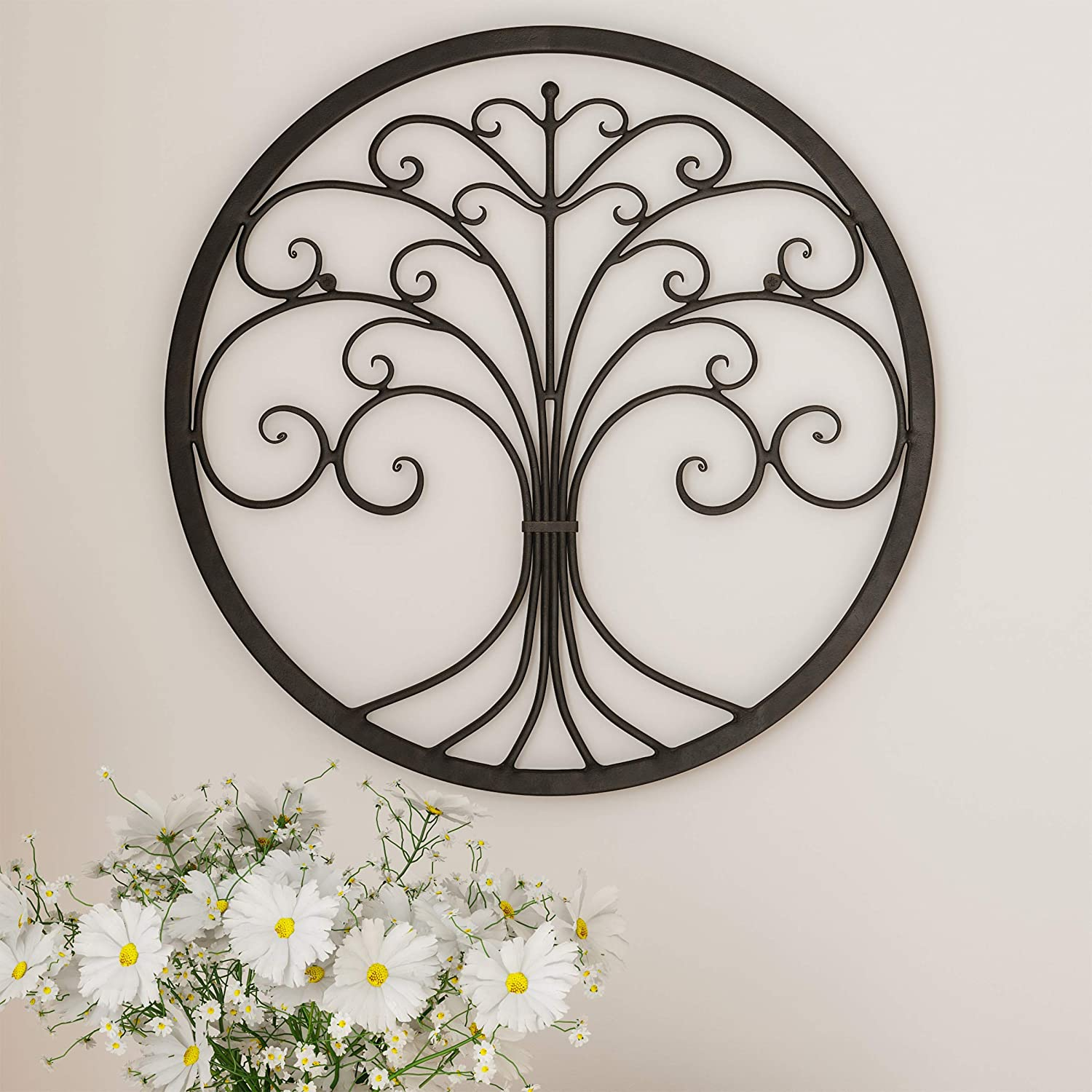 Lavish Home Decor – Iron Metal Tree of Life Modern Wall Sculpture Art Round for Living Room, Bedroom or Kitchen (Brown)