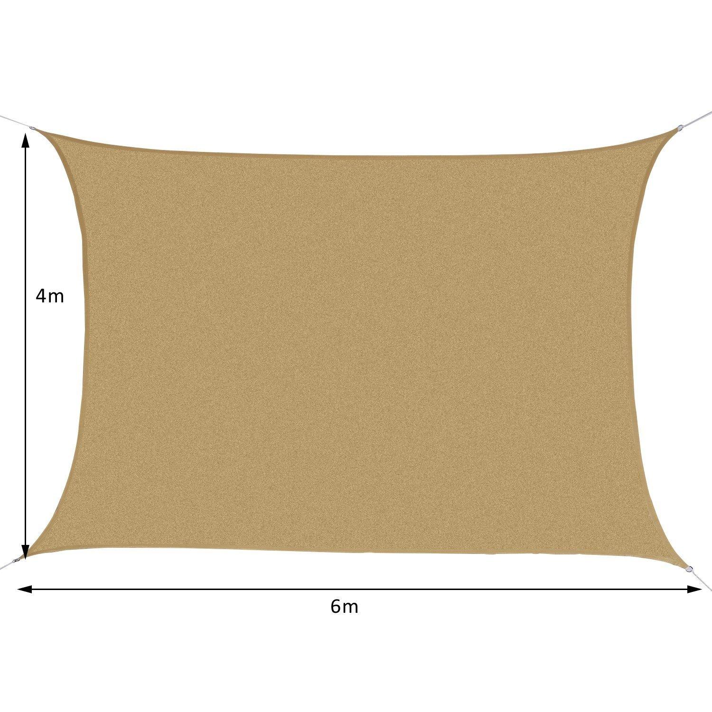 Outsunny Tenda a Vela Parasole Rettangolare Tenda da Sole Protezione Raggi UV in PE 4 x 6m