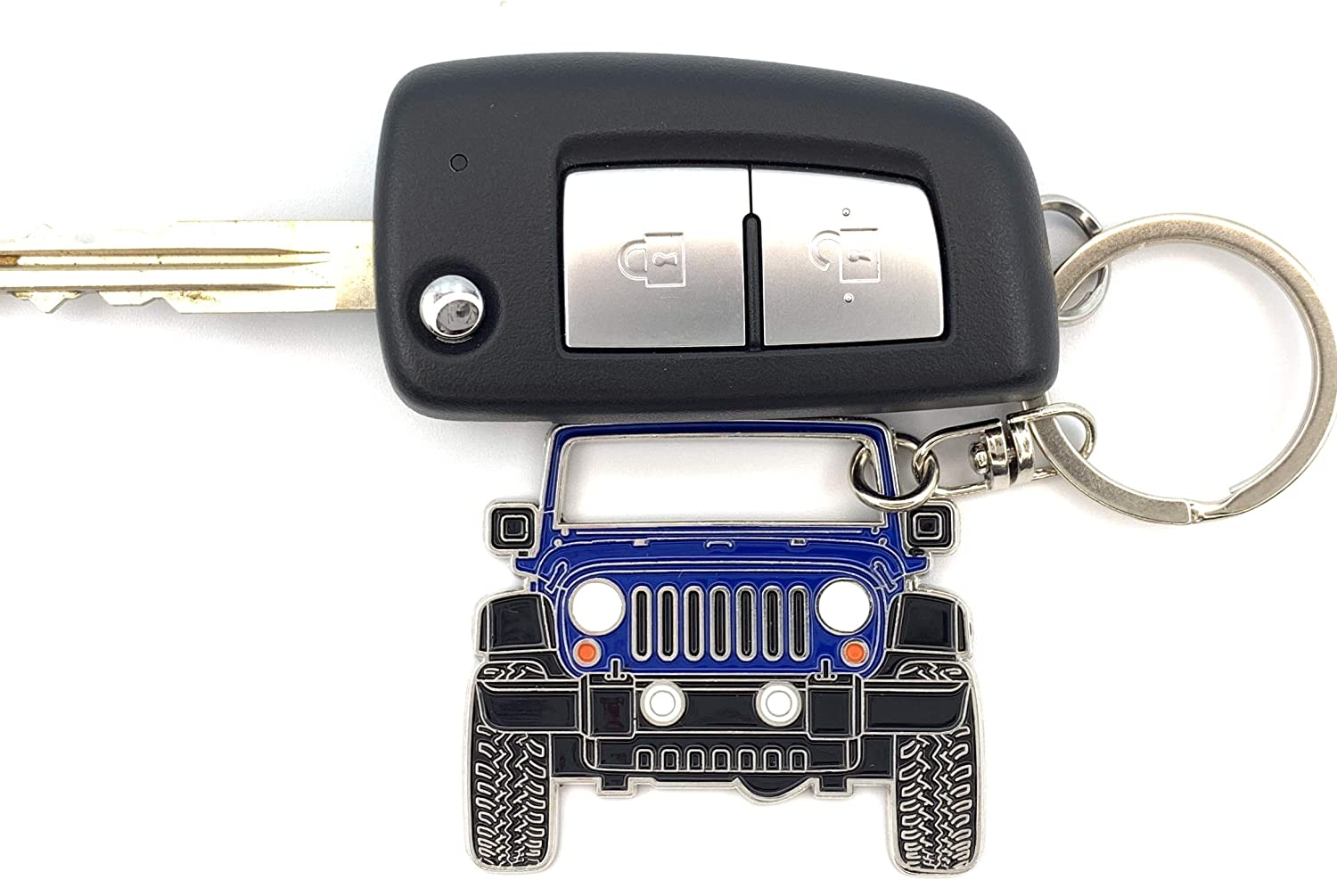 3dcrafter Wrangler JK Keychain tag for Man Women Made from Steel Key fob Accessories Grill Chain