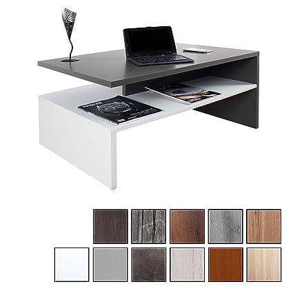 RICOO Tavolino Basso da Divano da Soggiorno Design WM080-WA Tavolo da  Salotto Giorno Mobile da Lavoro Moderno con Due Piani/Quadrato  Rettangolare/in ...