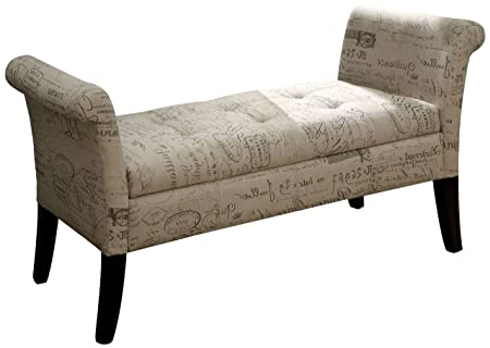 Furniture of America Harper Fabric End of Bed Storage Bench