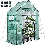 Walk-in Greenhouse 77x56x30 In 2 Windows 3 Tiers 4 Shelves 8 Net Rack Buckles Hot House Roll Up Zipper Door Plant Gardening P