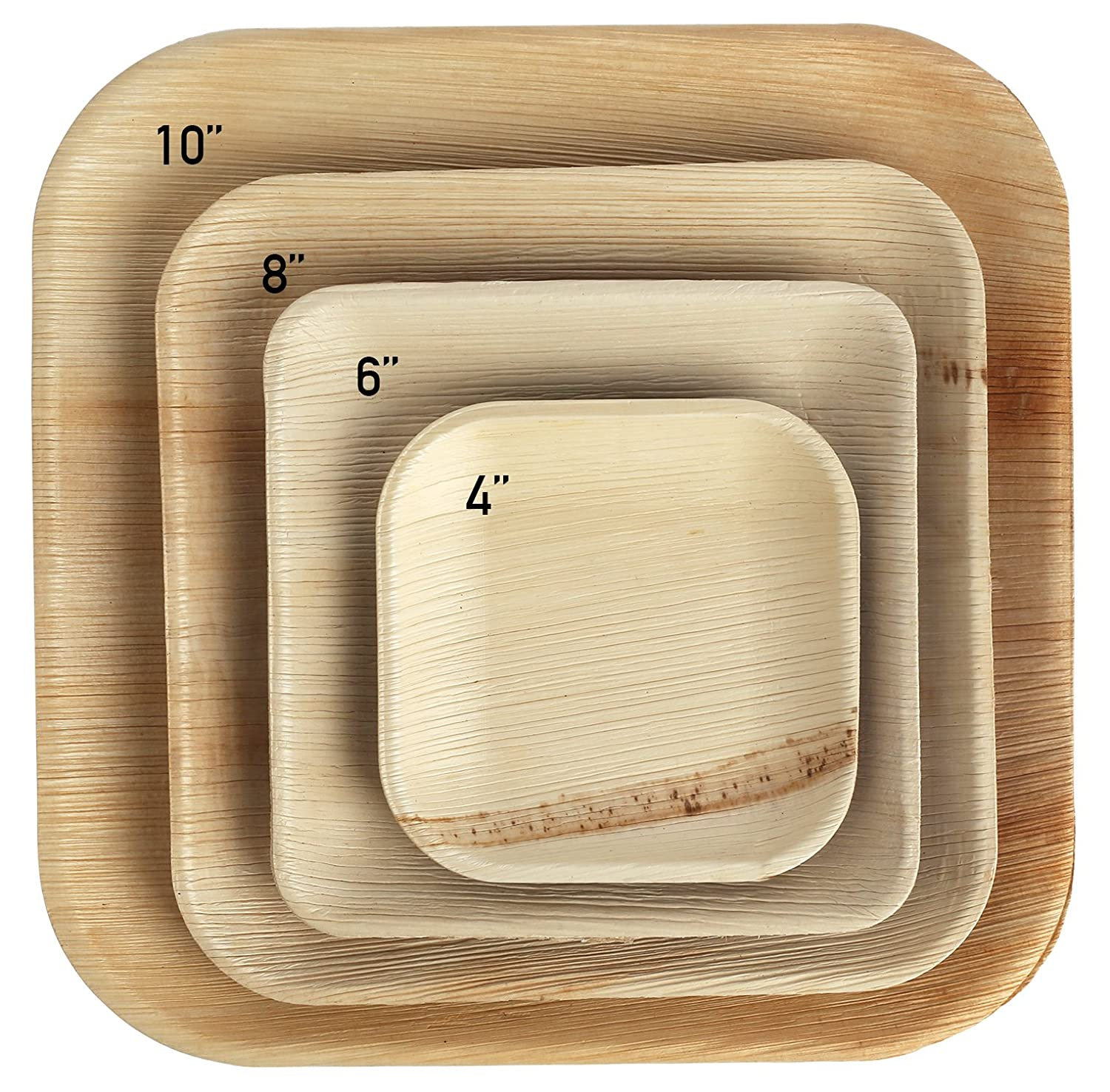 """Brheez Palm Leaf Disposable Bamboo Style Square Plates 6"""" - Sturdy, Biodegradable & Compostable - Eco Alternative To Plastic & Paper (Pack of 25)"""