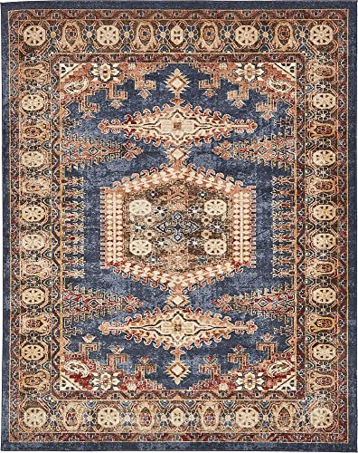 Unique Loom Utopia Collection Traditional Geometric Tribal Warm Tones Dark Blue Area Rug 8' 0 x 10' 0