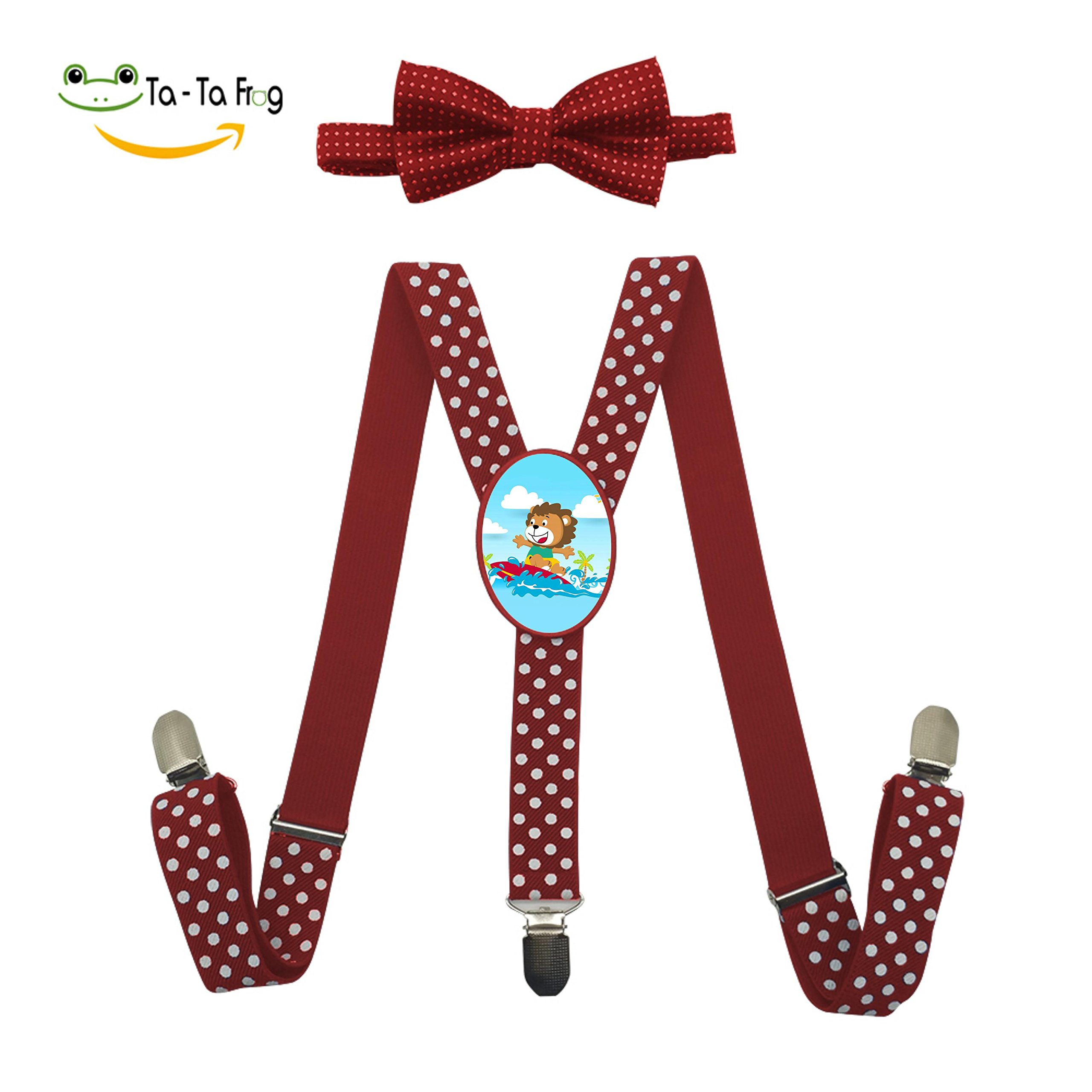 Surfing at Summer Lion Unisex Suspenders And Pre-Tied Bowtie Set For Kids Casual And Formal Red