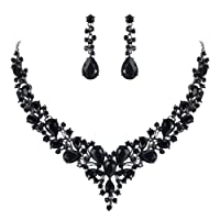 BriLove Women's Wedding Bridal Austrian Crystal Teardrop Cluster Statement Necklace Dangle Earrings Set